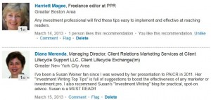 LinkedIn recommendations for Investment Writing Top Tips
