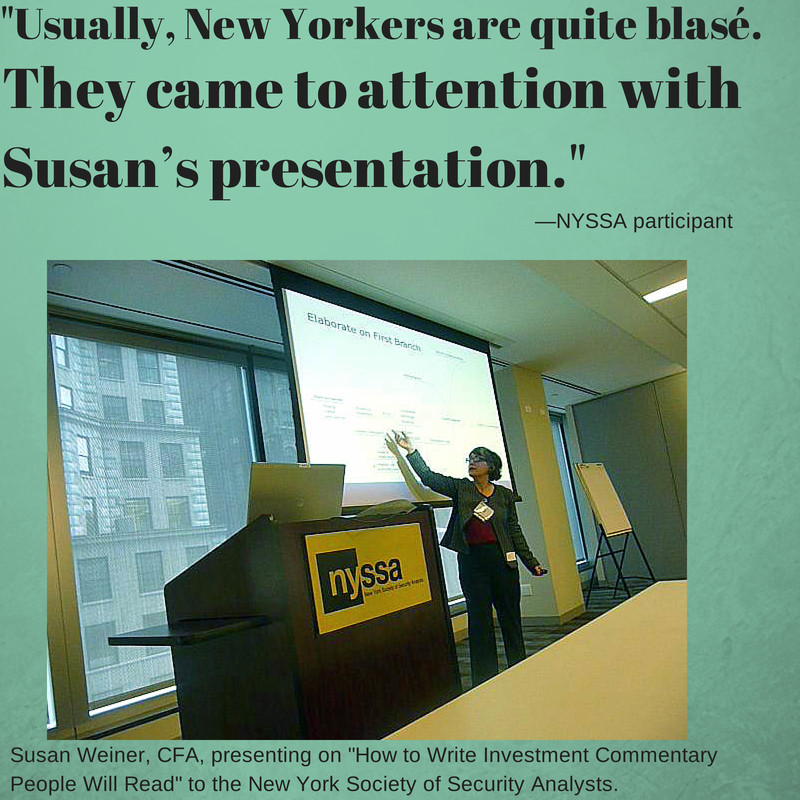Susan Weiner presents at NYSSA 2013