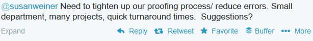 Tweet asking about proofing